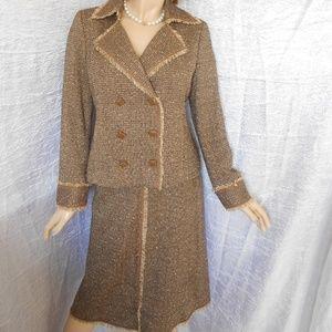 Nwt $379 DONCASTER Brown 2PC Skirt Suit Sz 10